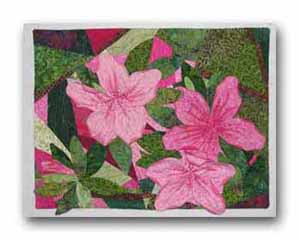 Inspired by a photo of my husband's wonderful azaleas taken in May of 2006. Machine pieced and appliqué. Embellished with ink and Swarovski crystals.
